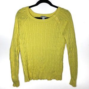 St. John's Bay Yellow Crew Neck Cable Knit Sweater